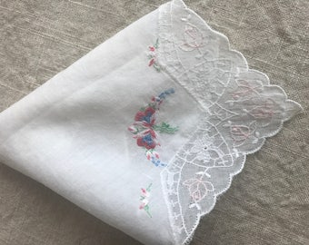 Beautiful Vintage BRide's Hankie White and Pink lace