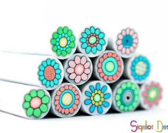 Polymer clay cane millefiori flower collection- Pastel shades- 12 canes- Limited edition