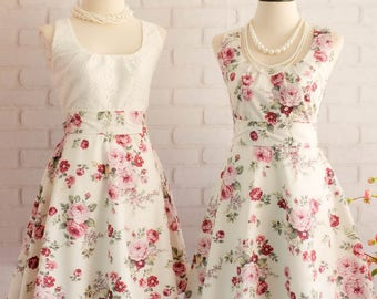 White bridesmaid dress floral bridesmaid dress vintage prom dress short bridesmaid dress country prom dress wedding guest dress