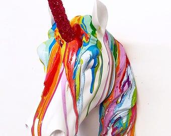 Rainbow Unicorn Wall Mount Art ~ Faux Taxidermy ~ 3D resin bright colours glitter horn ~ Birthday Wedding Graduation Exams gift