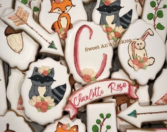 Boho Woodland Shower/Birthday Decorated Shortbread Cookies, 1 Dozen (12)