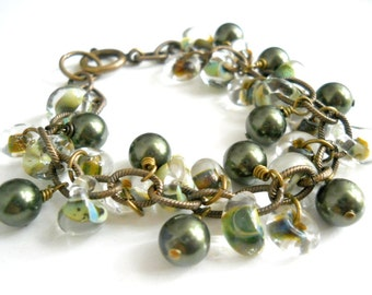 Olive Pearls Bracelet, Boro Drops and Wheels, Vintaj Chain, Olive Swarovski Glass Pearls