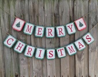 Christmas banner, Burlap MERRY CHRISTMAS  banner, Christmas holiday decor, holiday banner,  Xmas banner, Christmas sign, garland