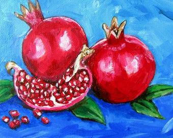 Pomegranates Painting on Canvas, Original Painting, Pomegranate Art, Still Life, Open Pomegranate Gifts, Jewish Artwork, Judaica Wall Art
