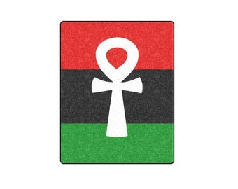 Ankh Fleece Blanket  // RBG Pan African Cover // Egyptian Ankh Designs // Kemetic / Ankh Key of Life / Macus Garvey / Afrocentric Home Decor
