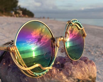 ROUND Rainbow Reflective ~ SPUNGLASSES ~ Sunglasses Eyeglasses Sunnies Mens Women's Unisex ~ Every pair is a piece of art FREE Shipping