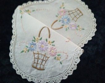 Gorgeous Vintage Hand Embroidered Doily - Basket of Flowers