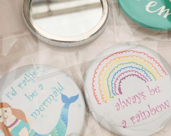 Pocket mirror - personalised handmade mirror - party bag filler - stocking filler - mermaid mirror - rainbow mirror - unicorn mirror