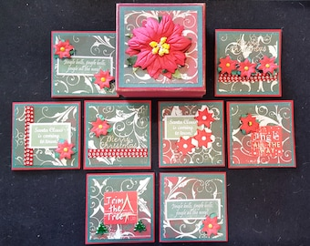 Handmade 9x9cm Boxed Set of 8 Christmas Cards Gift Tags Poinsettias Scrapbooking Card Making Ready Made FREE POST