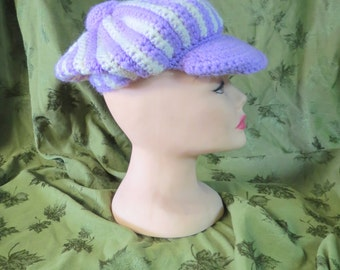Vintage Handmade Crochet Tam / Hat Purple and White with a Purple Bill and Top Knot