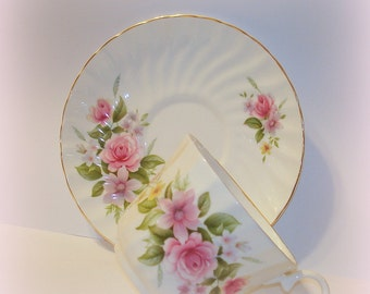 Tea Cup & Saucer Royal Stuart Vintage Bone China Floral with Roses Made in England Pink Green White Craft Supply