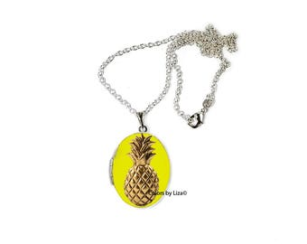Pineapple Oval Locket in Hand Painted Yellow Enamel Trpical Summer Inspired on Sterling Silver Chain with Personalized Options
