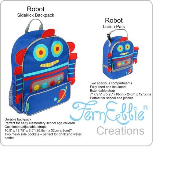 Stephen Joseph Robot Sidekick Backpack and Lunch Pal Combo!