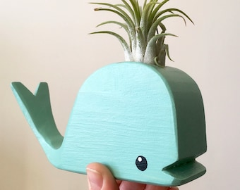 Tiny Wooden Whale With Airplant - Turquoise Stain