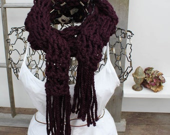 Burgundy Fringed Knit Scarf Chunky Knit Skinny Scarf The Ananda Chunky Fringed Scarf Mulberry Wine Scarf Burgundy Chunky Scarf with Fringe