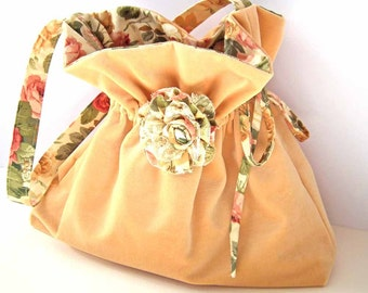 Velvet Boho Shoulder Bag, Handbag, Floral Fabric, Summer Wedding, Lace Flower Corsage Brooch, Drawstring, Choice of Colour, UK Seller
