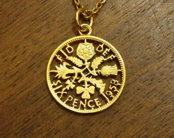 Sixpence (1953-1967) - Cut Out Coin Necklace