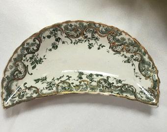 Green English  Transferware  Bone Dish Ironstone produced by Dunn Bennett and Co  pattern is Recherche