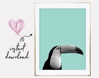 toucan print, mint nursery decor, neutral nursery decor, mint nursery prints, mint printables, mint nursery wall art, printable wall art
