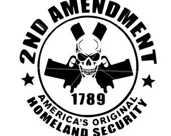 SVG - 2nd Amendment SVG - Gun Rights svg - Skull svg - Skull with Guns svg - Gun Svg - Cricut Cutting File - Silhouette Cutting File