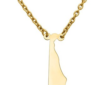 14K Yellow or White Gold Sterling Silver or Gold Plated Silver Delaware DE State Map Name Necklace Personalized Engraved Monogram CMZ415