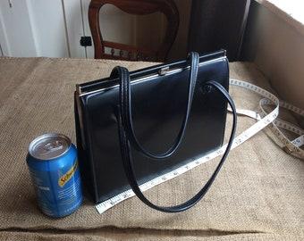Handbag,black, leather,vintage,silver tone clasp,