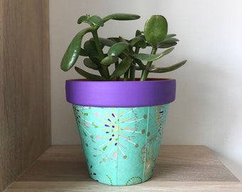 Flowerpot with paper, Clay flowerpot, Washi flowerpot, home decor, flowerpots, Cactus flowerpot, Cubremaceta, flowerpots, pots