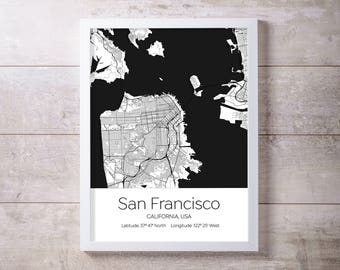 San Francisco Map Wall Art Prints