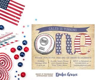 baseball 1st birthday invitations, baseball party invites, vintage baseball birthday invitation, PRINTABLE invite, baby boy party invitation