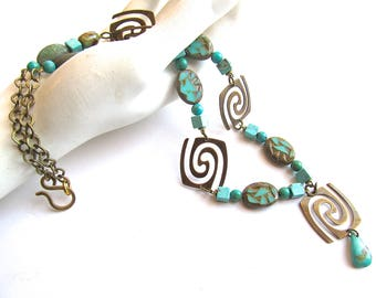 Urban Tribal Necklace in Turquoise and Antique Golden Brass