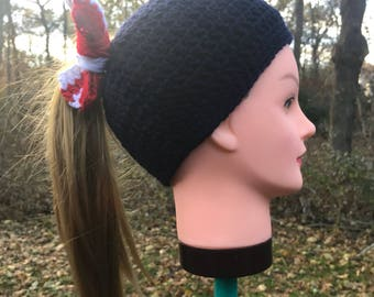 Black, Red, & White Women's Messy Bun Hat