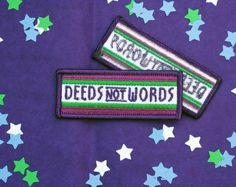 Deeds Not Words Suffragette Inspired Iron on Patch - Embroidered Patch - Suffragette Patch - The Suffragettes - Feminist Patch - Feminism