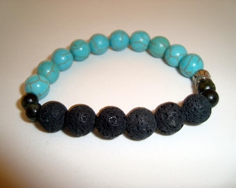Aroma Therapy Bravelet, Black Volcanic Beads Hold the Oil and Scent and Natural Turquoise Gemstone Beads on an Elastic Stretch Bracelet,Gift
