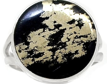 All Natural Pyrite in Hematite Ring in Solid Sterling Silver. Size 7.5 0199