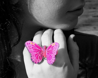 Butterfly Ring - Medium Size Light Pink Feathers by Smash Gardens on Etsy, Bridesmaids Gifts, Bridal Party Accessories, Woodland Wedding