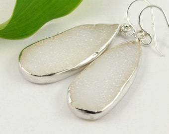 Druzy Agate Teardrops - White Drusy Earrings on Silver - Quartz Crystals - Long Earrings