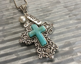 Filigree and Turquoise Cross Pendant, Faith Jewelry
