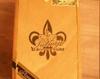 EMPTY Cigar Box for Crafting - Tatuaje - wooden slide top box