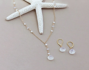 Moonstone and Pearl Necklace Set, Gold, Rose Gold or Silver, Beachy Bridal, Moonstone Jewelry Set, Necklace Earring Set, Beach Wedding