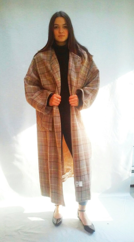 windowpane plaid coat beige / long wool overcoat / s - l