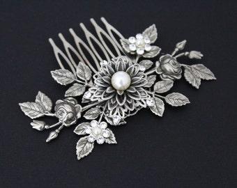 Antique Silver Hair comb, Wedding headpiece, Bridal hair comb, Leaf headpiece, Wedding hair piece, Vintage style hair comb, Hair clip