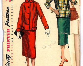 1950's Women's Two Piece Suit with Slim Skirt Vintage Sewing Pattern Simplicity 1324 Bust 30 RF0006