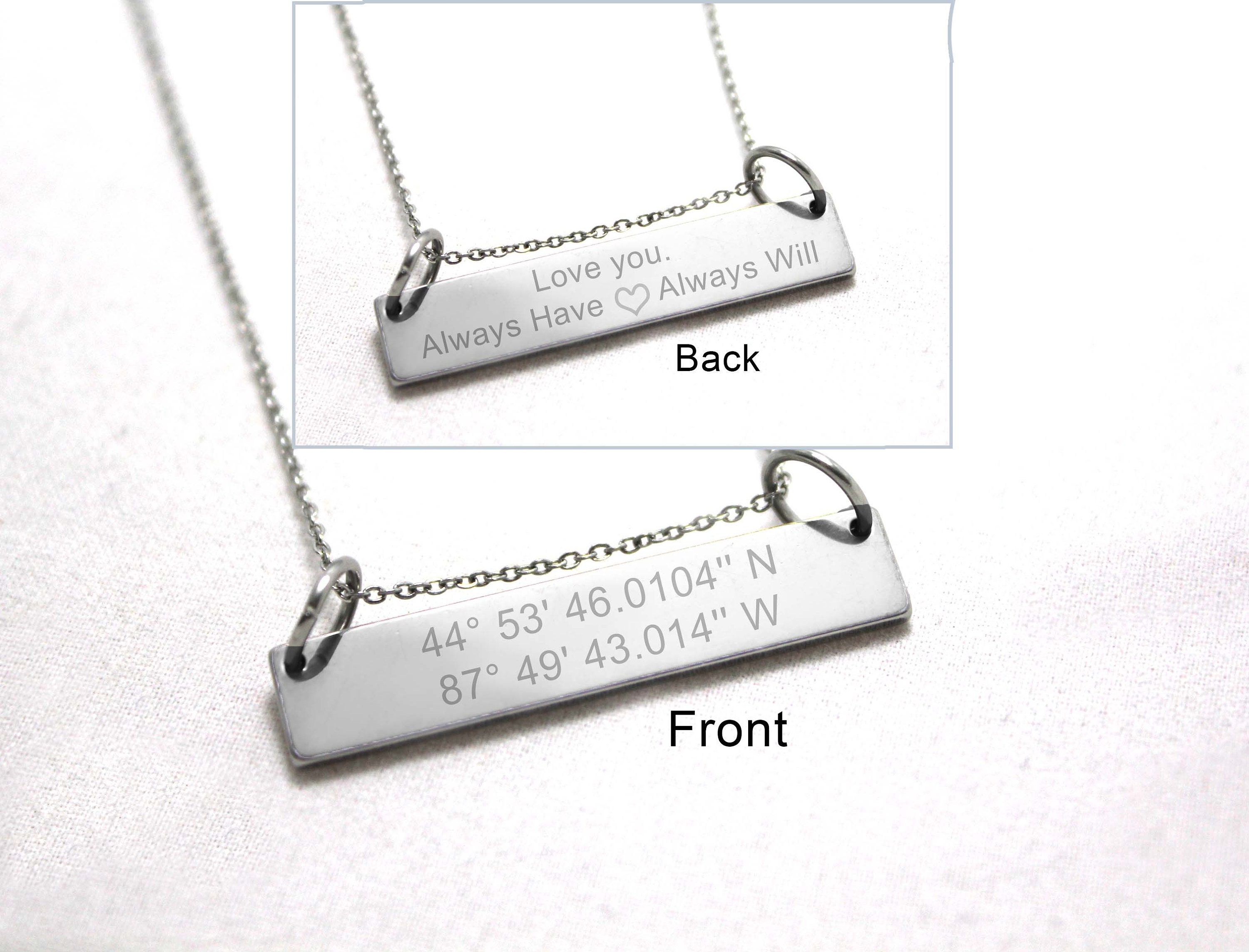 hidden coordinate jerezwine message custom jewelry vertical bar necklace name