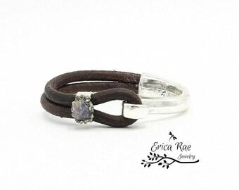 Raw sapphire gemstone leather cuff bracelet, hook cuff bracelet, raw jewelry,  boho jewelry