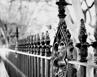 Frank Huguenot Church Wrought Iron Fence Photograph, Charleston South Carolina Black and White Fine Art Home Decor, Wall Art, Architecture