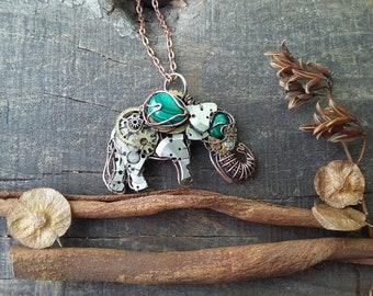 Malachite elephant necklace, Elephant jewelry, Ellie, Animal necklace