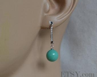 dangling turquoise earrings, wedding CZ earrings, bridesmaid earrings, turquoise glass bead,turquoise pearl earrings, cheap pearl earrings,
