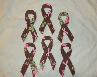 """Breast Cancer Awareness Ribbon. Fusible (Iron On) Applique Shapes,  3 x 5"""".  Set of 6. Brown fabric with pink roses and ribbons.."""