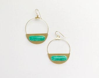 Golden Moon Hoops in Jade