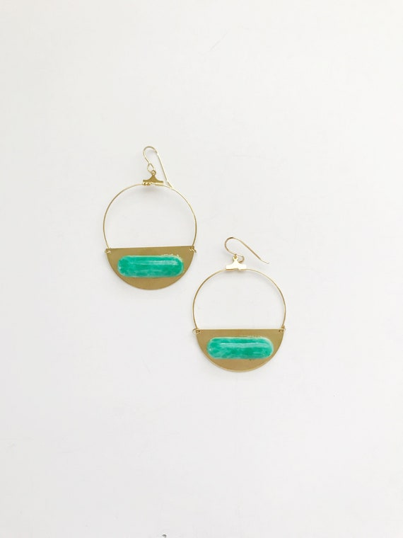 Golden Moon Hoops in Jade
